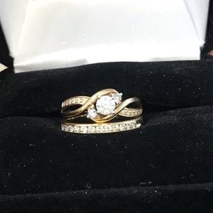 14kt gold 1ct diamond engagement ring/ with band